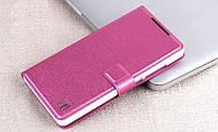 Чехол книжка для Lenovo A788 c шелковистой фактурой цвет розовый, фото 1