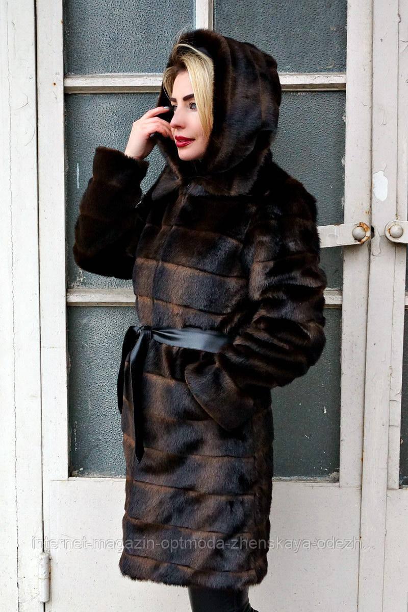 Шубка из эко меха под норку стриженная, большие размеры: 50, 52, 54, 56, цвета - черный, серый, коричневый
