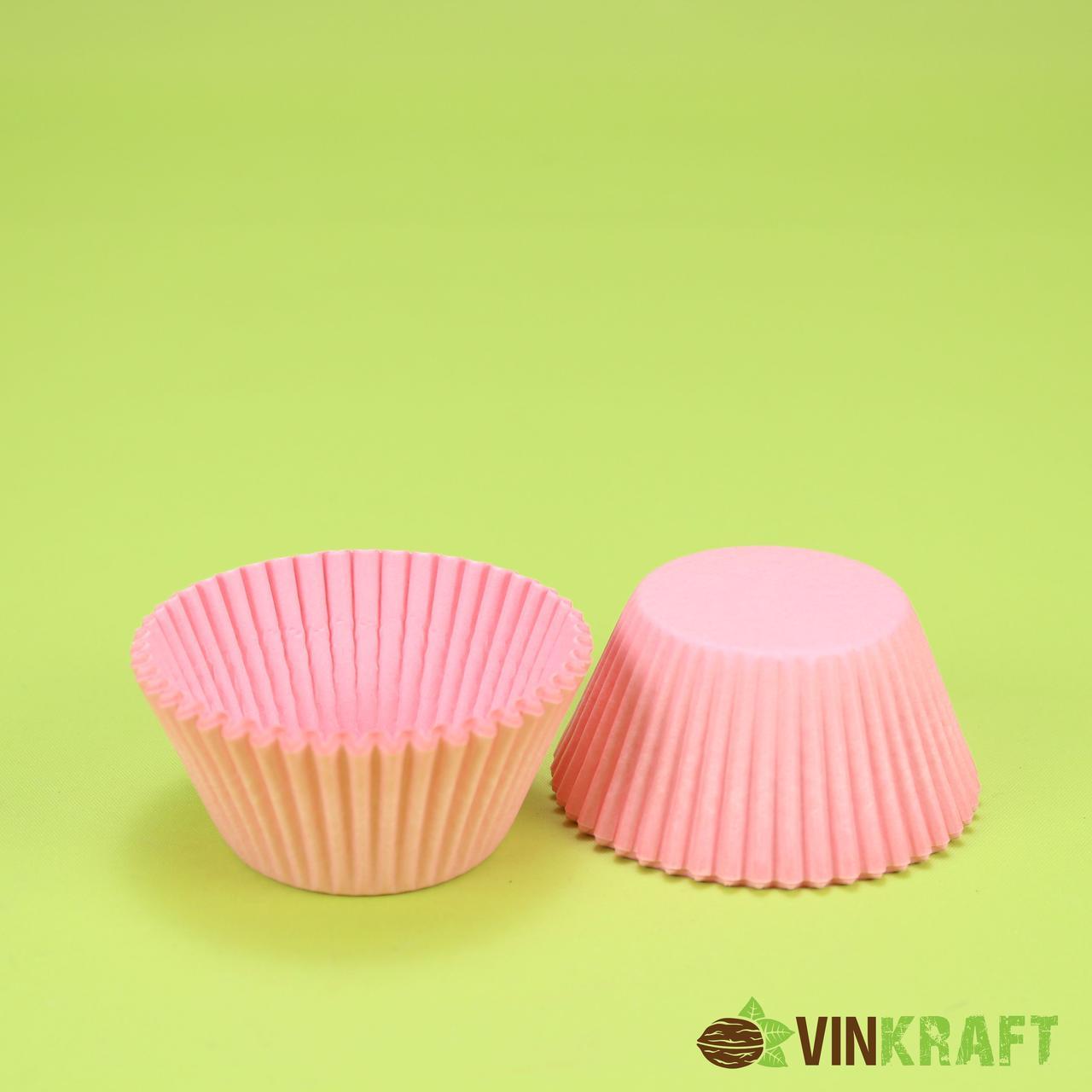 Паперова форма для міні кексів 6с (45х35), рожева