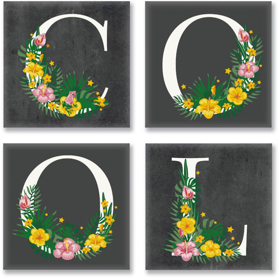 Набор для росписи по номерам. COOL  лофт 18*18 см*4 шт. CH115