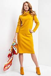 Трикотажное теплое платье WINTER прямого кроя с высоким двойным воротником