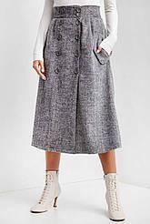 Серая теплая юбка трапеция CHANCE с пуговицами спереди и боковыми карманами