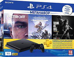 Sony PlayStation 4 1TB Slim + игры Detroit, Horizon, The Last Of Us + PS Plus 3 мес.