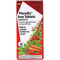 Железо, Floradix Iron, Flora, 80 таблеток