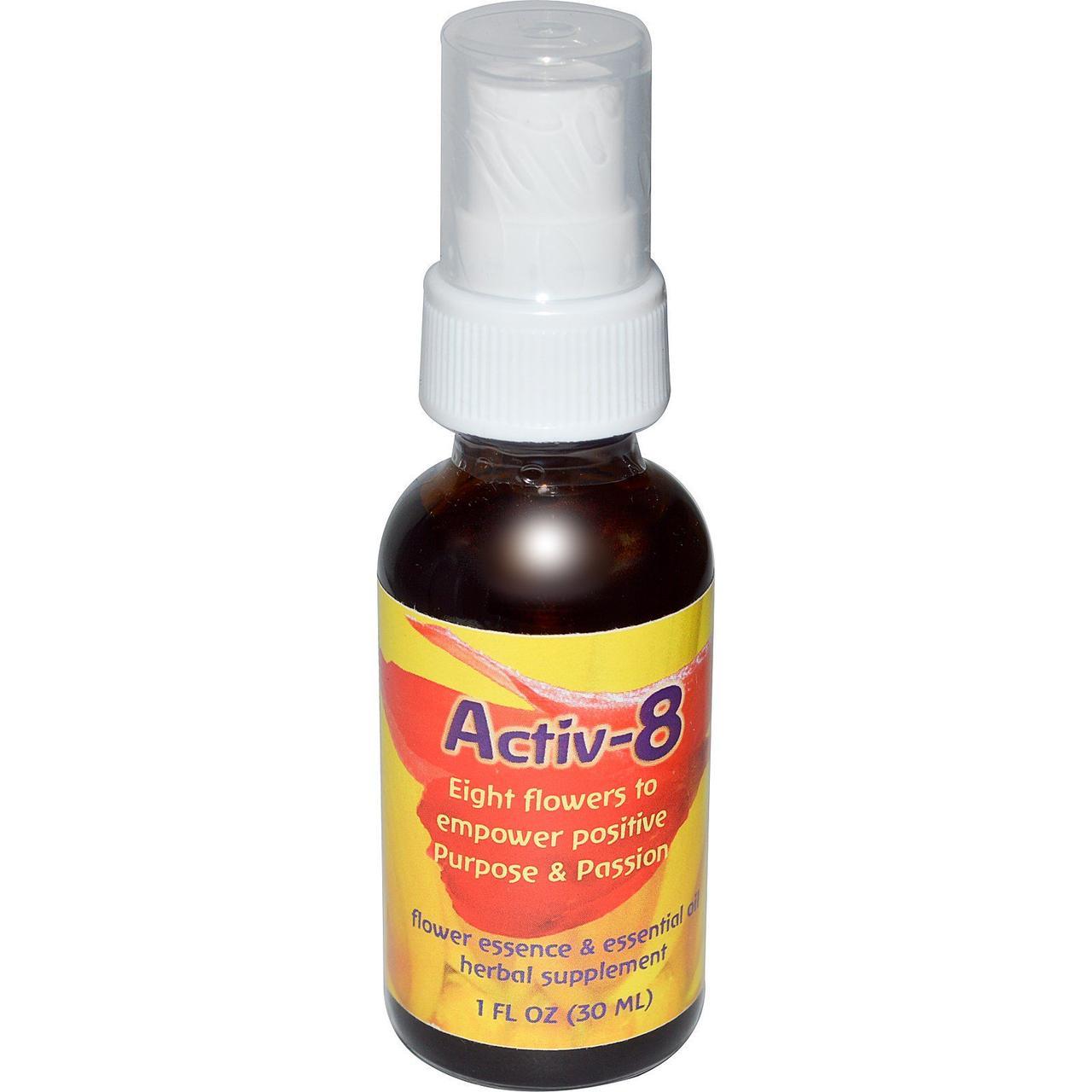 Flower Essence Services, Activ-8, цветочная эссенция и эфирное масло, 30 мл