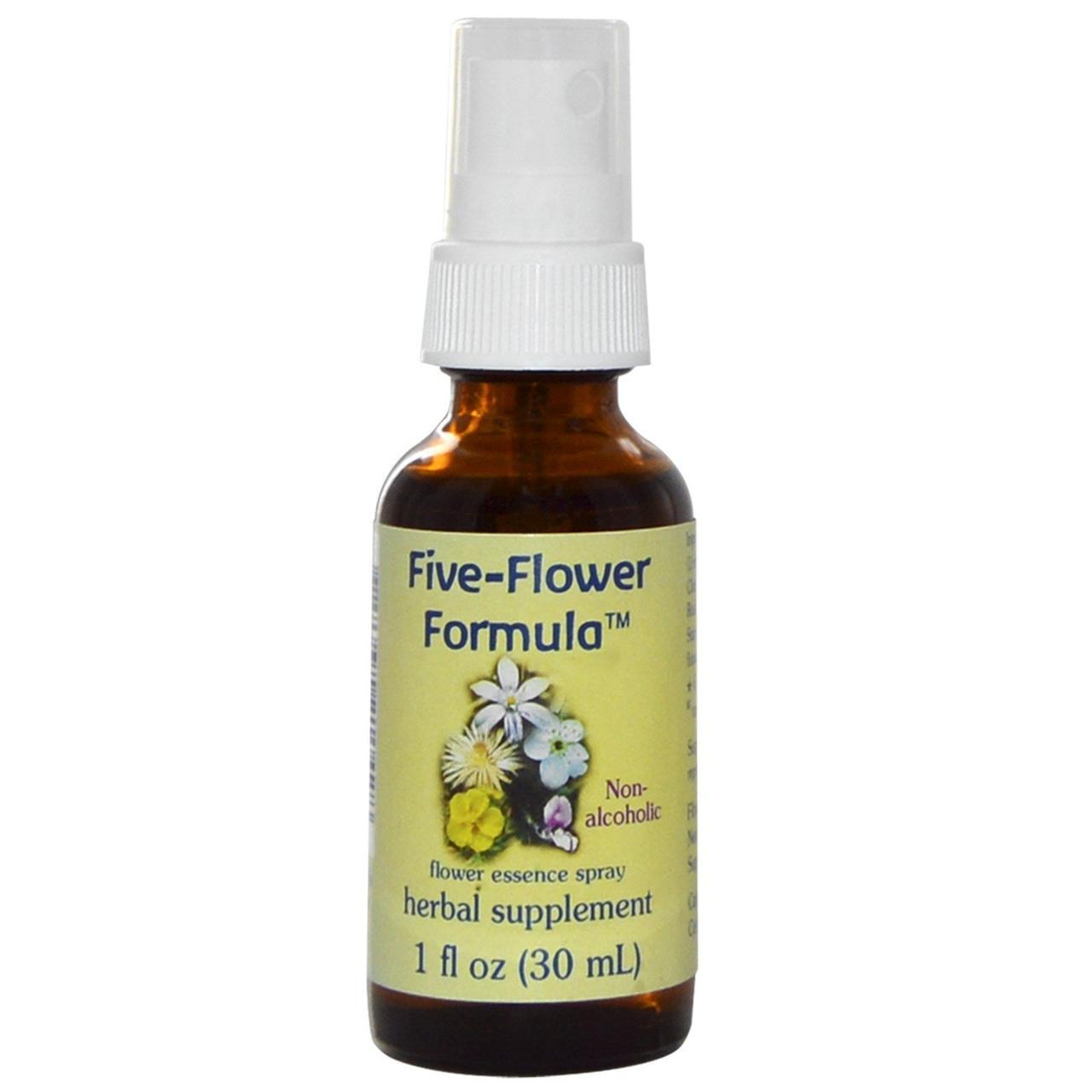 Flower Essence Services, Five-Flower Formula, Спрей с цветочной эссенцией, не содержит спирта, 1 ж. унций (30 мл)