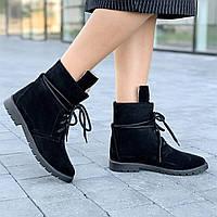Ботинки женские зимние замшевые черные полуботинки (код 8911) - жіночі черевики ботінки зимові замшеві чорні, фото 1