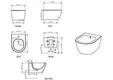 Підвісне біде GSG LIKE XXS 48,5 см matt Cement (LKBISOXXS020), фото 3