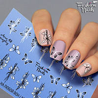 Слайдер-дизайн ЦВЕТЫ Fashion nails - водная наклейка для ногтей - цветы, бабочка арт.Aero49