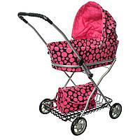 Коляска прогулочная для куклы, металлическая, высота до ручки - 71 см, MELOGO 9325, розовая в горошек
