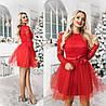 Платье мини с фатином ТК/-2014 - Красный
