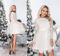Платье мини с фатином ТК/-2014 - Молочный, фото 1