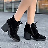 Ботинки ботильоны женские зимние замшевые черные на каблуке (код 8915) - жіночі черевики ботільйони зимові