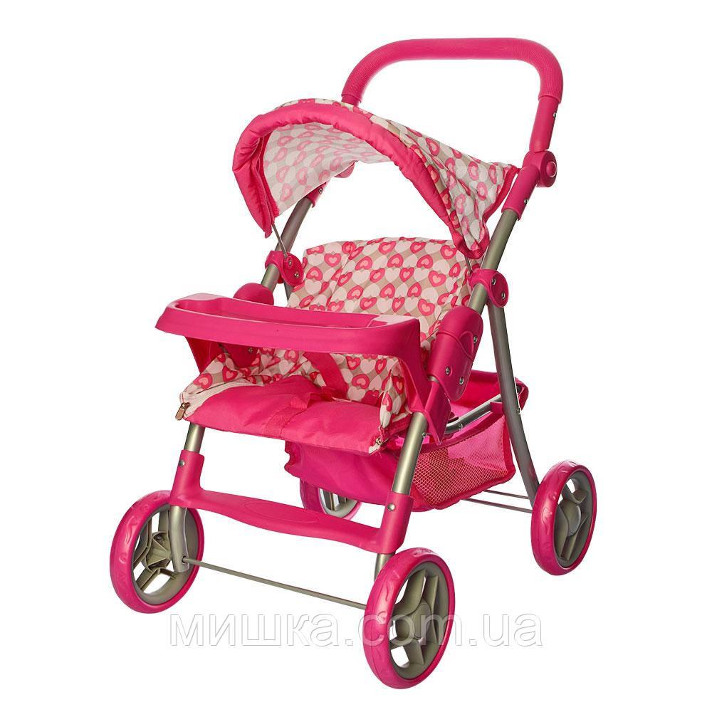 Коляска прогулочная для куклы 9337- 1, металлическая, высота до ручки - 74 см, розовая