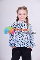 Блуза с бантом и оборкой по низу Lukas 7233, цвет голубой