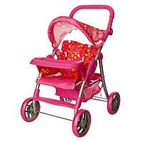 Коляска прогулочная для куклы 9337- 2, металлическая, высота до ручки - 74 см, розовая