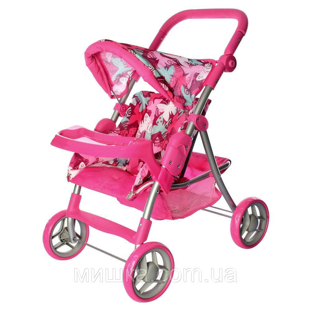 Коляска прогулочная для куклы 9337- 3, металлическая, высота до ручки - 74 см, розовая