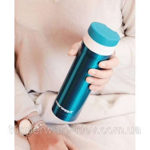 Термостакан металл в один клик 430 мл tupperware с блок кнопкой красивый практичный подарок купить Киев