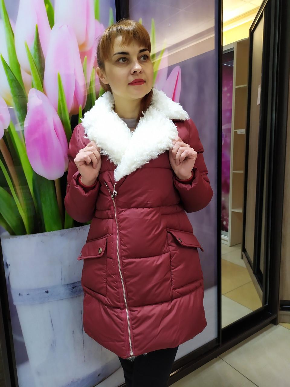 Куртка женская, воротник из эко-меха под каракуль