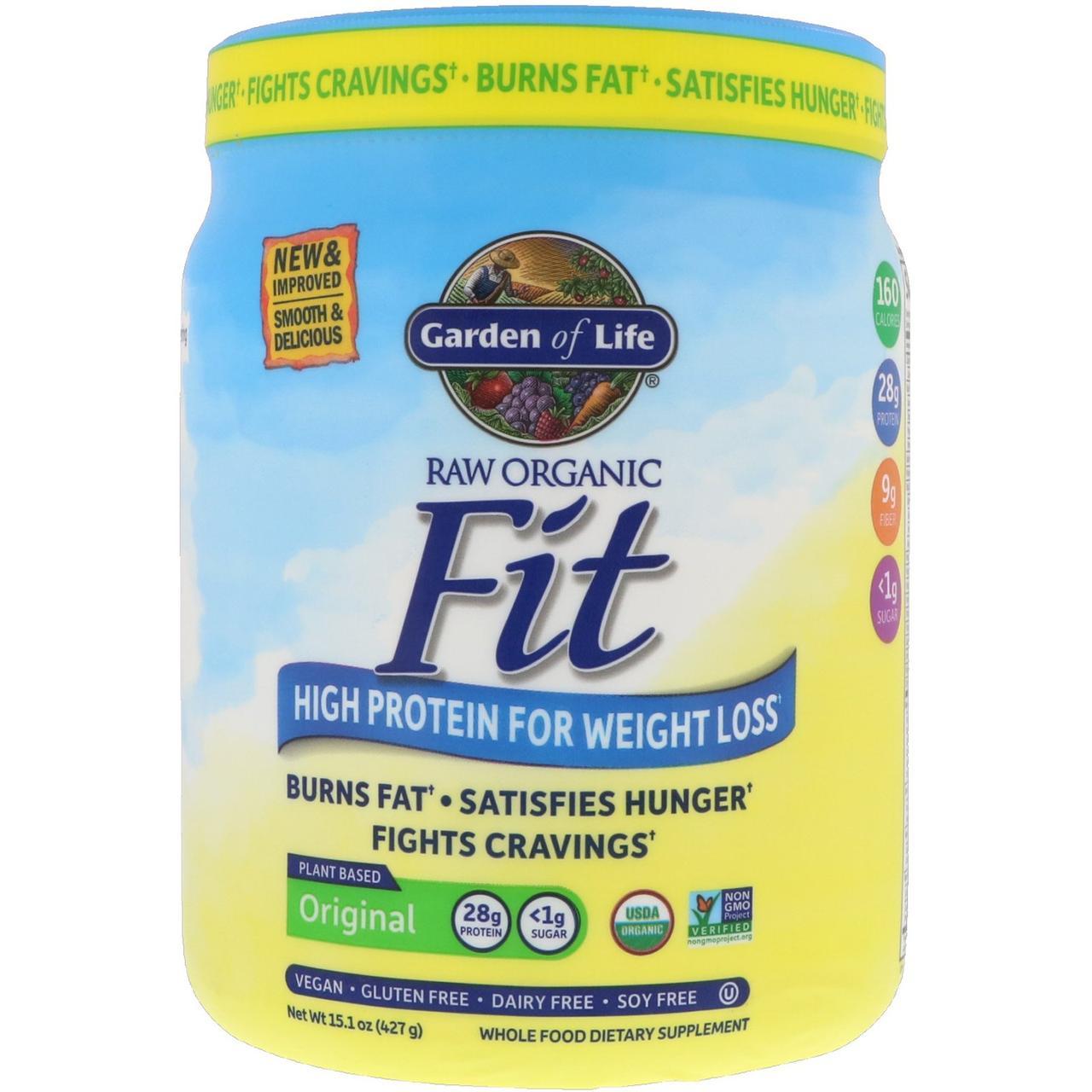Garden of Life, RAW Fit, Порошок з високим вмістом білка для зниження ваги, 16 унцій (451 р)