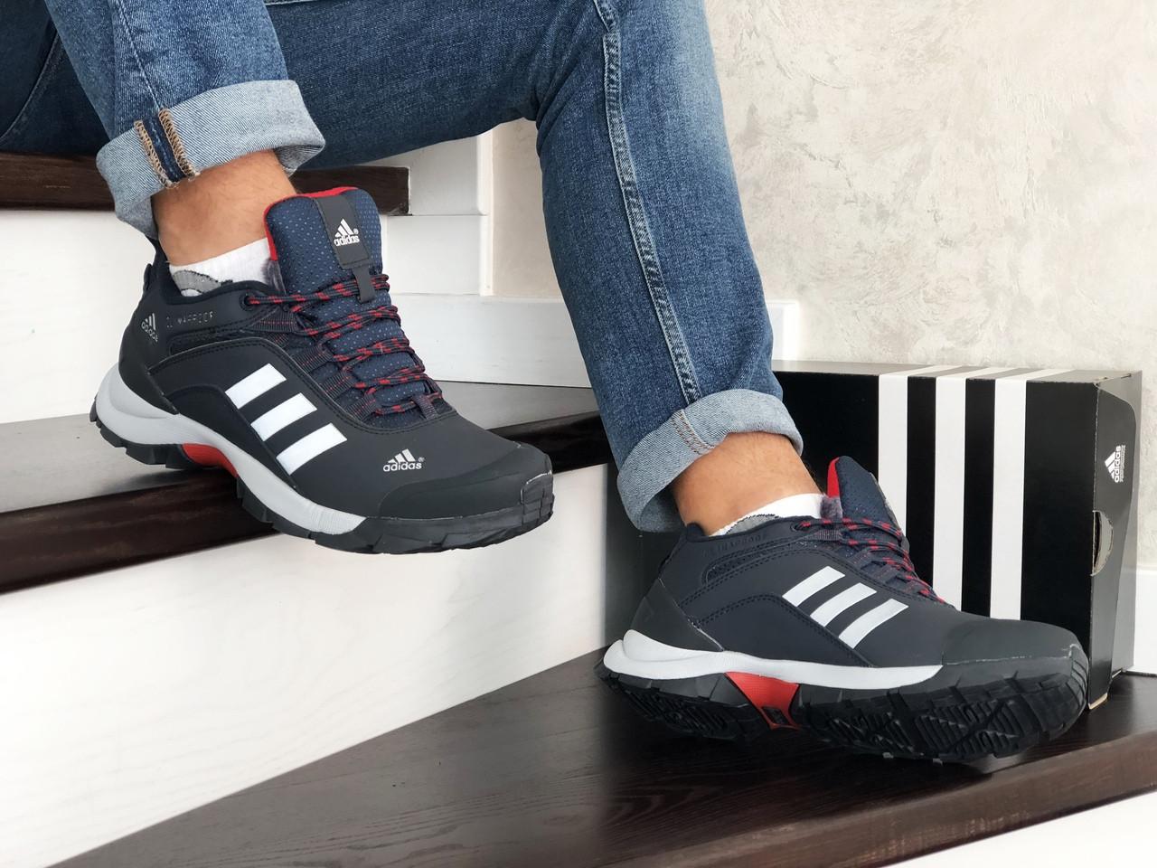 Чоловічі зимові кросівки Adidas Climaproof (темно-сині з білим)