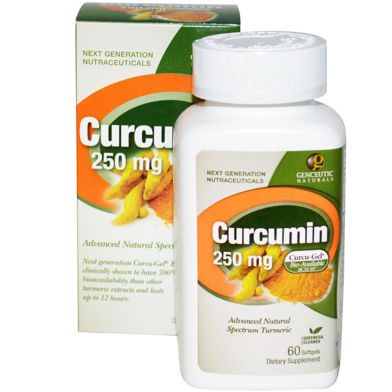 Куркумин (Curcumin),Genceutic Naturals, 250 мг, 60 капсул