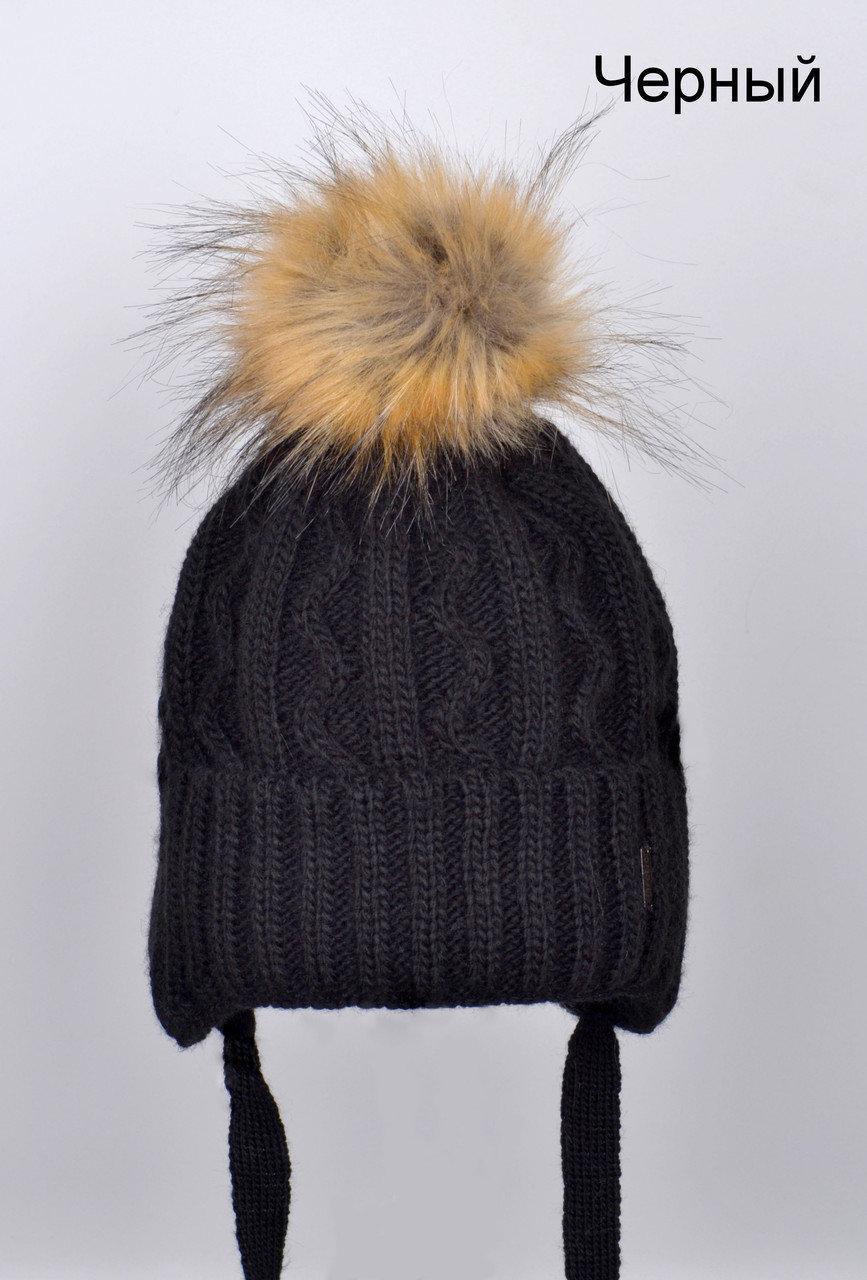 Вязаная шапка с помпоном для мальчика