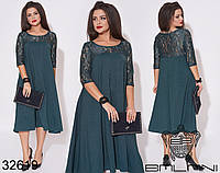 Платье трапеция средней длины с гипюровыми рукавами и кокеткой с 50 по 64 размер, фото 1