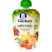 Детское пюре из груш, персиков, клубники, (2nd Foods, Baby Food), Gerber, 99 г