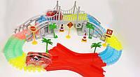 Magic Tracks 360, мост, перекрёсток, 2 гоночные машинки, знаки. Светящаяся гоночная трасса
