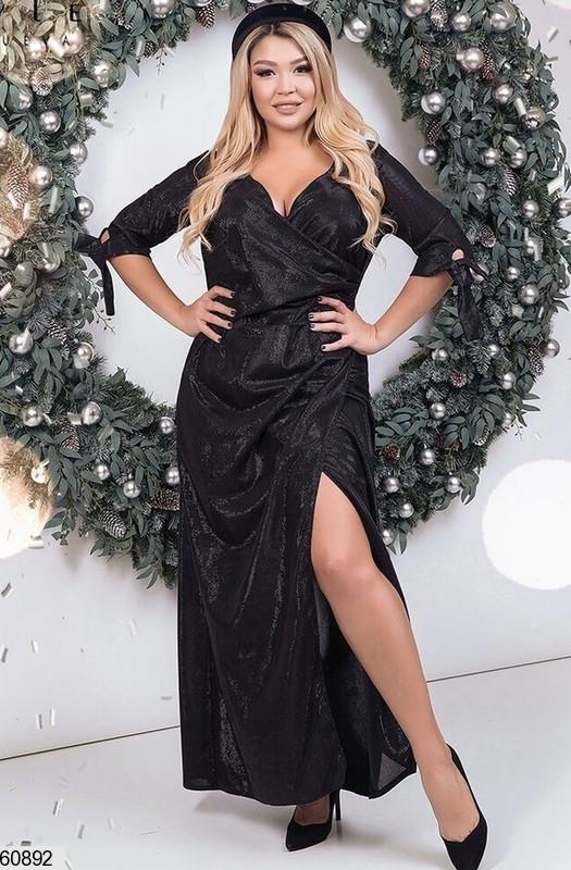 Нарядное платье макси больших размеров черное