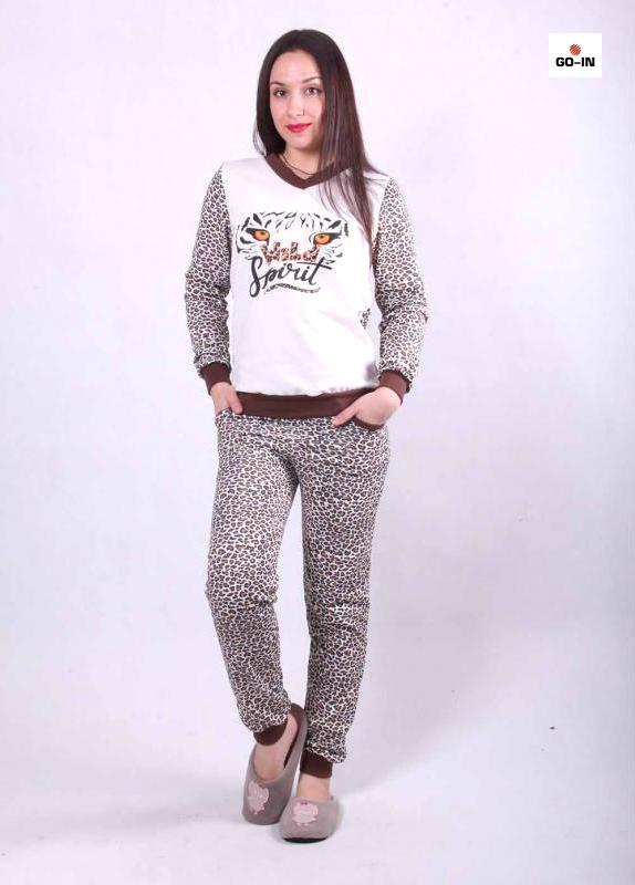 Женская пижама с начесом теплая леопардовая 42-54 р.