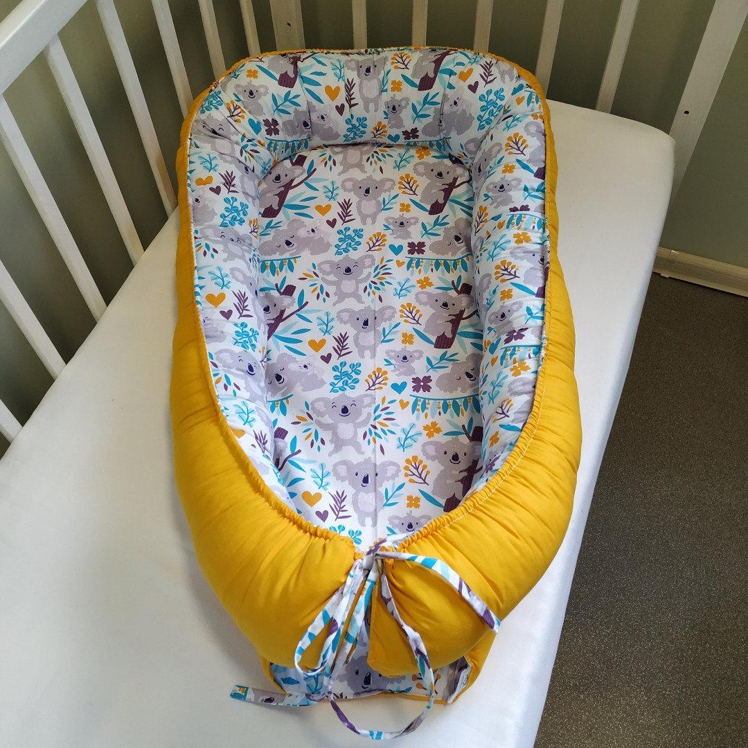 Детский кокон позиционер для новорожденных желтый