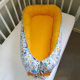 Детский кокон позиционер для новорожденных желтый, фото 2