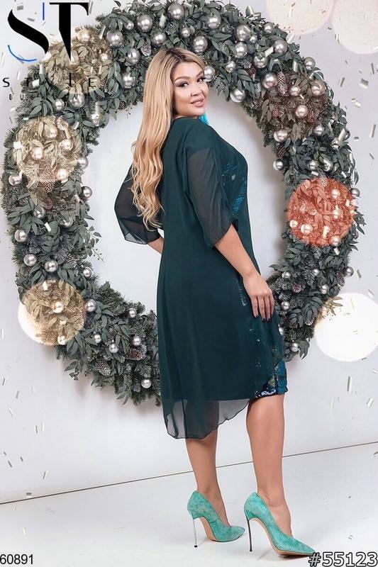 Нарядное женское платье больших размеров зеленое, фото 2