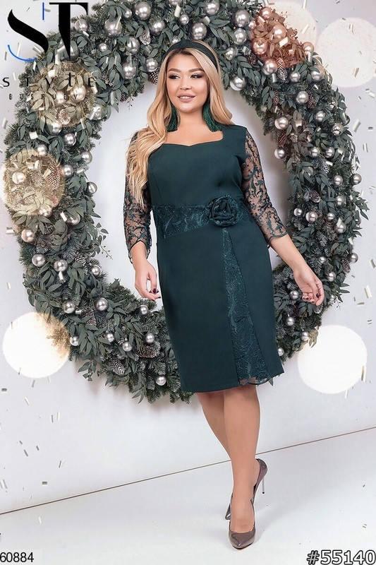 Нарядное платье больших размеров для корпоратива зеленое, фото 2