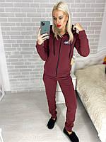 Женский теплый прогулочный спортивный костюм Fila (42-44, 44-46, 46-48) (цвет бордо) СП