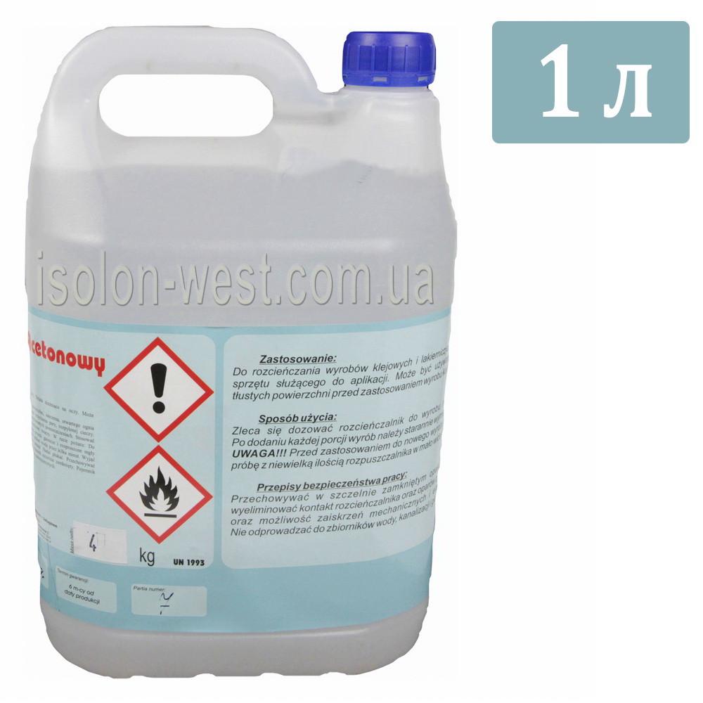 Растворитель и очиститель BONAROS Acetonowy предназначен для разбавления полиуретановых клеев, 1л.