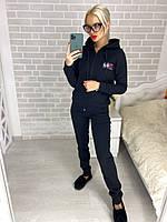 Женский теплый прогулочный спортивный костюм Fila (42-44, 44-46, 46-48) (цвет черный) СП, фото 1