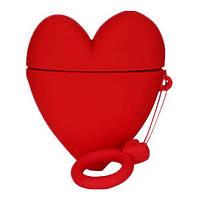 Чехол для наушников Apple AirPods Alitek Сердце Красное + держатель на палец (88653), фото 1