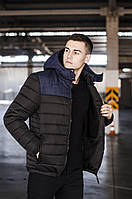 """Стильная мужская короткая зимняя куртка Pobedov """"Rise"""" черная с синим - размеры S, L, XL"""