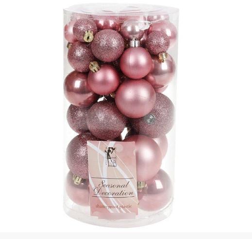 Набор елочных шаров Bonita Розовый бархат микс 40 шт (147-747)