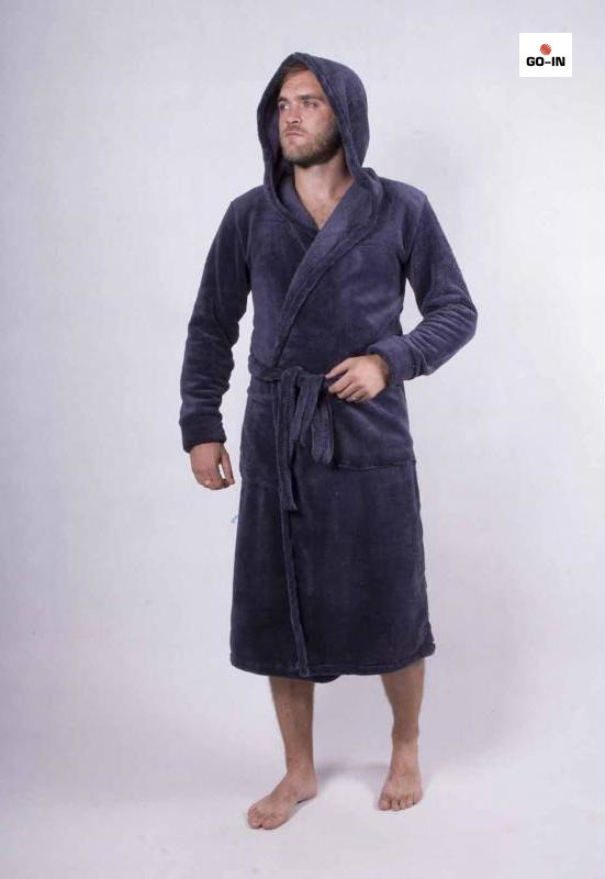 Халат мужской махровый теплый с капюшоном однотонный 44-60р.