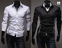 Стильная приталенная рубашка мужская с длинным рукавом однотонная