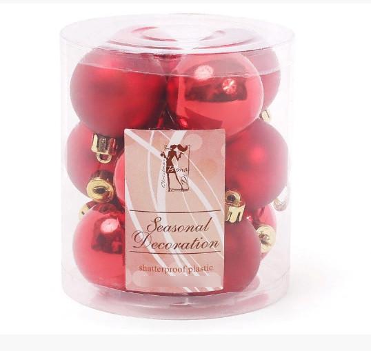 Набор елочных шаров Bonita Красный 4 см, 12 шт ( 147-471)