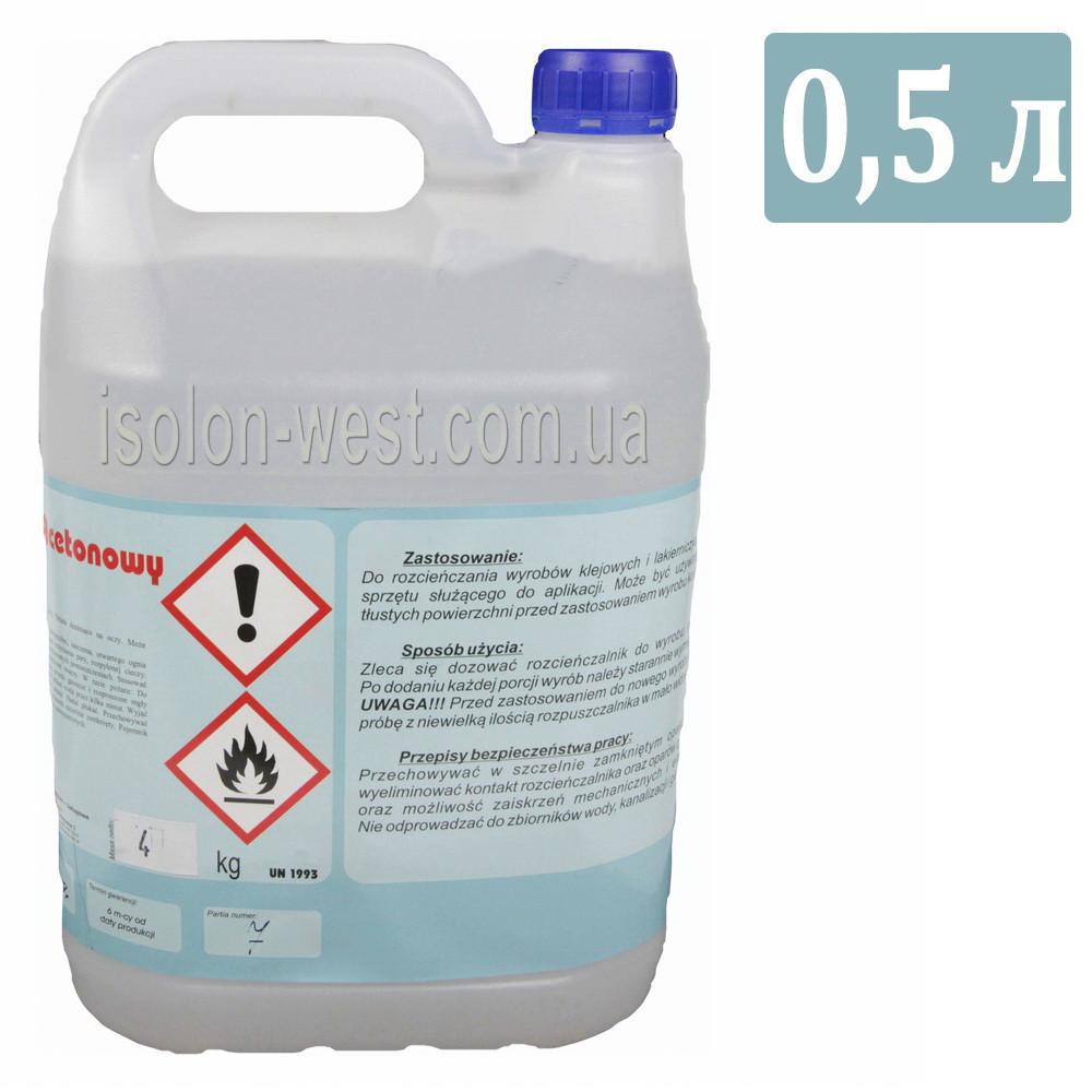Растворитель и очиститель BONAROS Acetonowy предназначен для разбавления полиуретановых клеев, 0.5л.