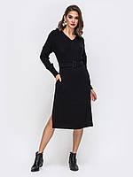 Черное платье миди с v-образным 44-46  48-50 52-54