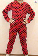 Піжама дитяча червона куртку для дівчинки в горошок 32-40 р.
