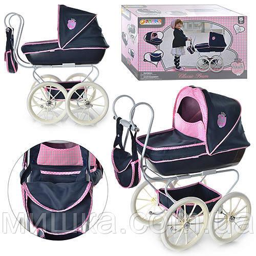 Классическая коляска для куклы Classic Pram D 87815, металлическая, высота до ручки - 56 см, колеса - 255 мм