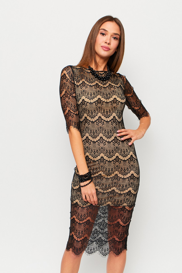 Чёрное гипюровое платье женское размеры от 42 до 46